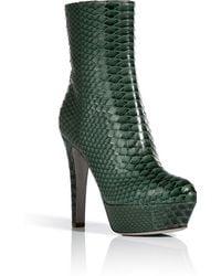 Sergio Rossi Fur Green Bicolor Python Half Boots - Lyst