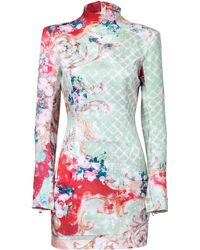 Balmain Mintmulti Floral Silk Dress - Lyst