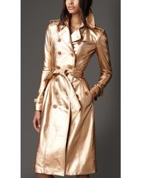 Burberry Long Metallic Leather Trench Coat - Lyst