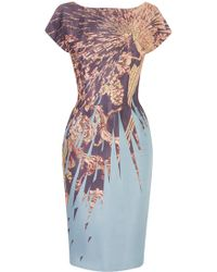 Matthew Williamson Imperial Eagle Liquid Silk Fitted Lady Dress - Lyst