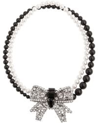 Miu Miu Crystal Bow Glass Pearl Necklace - Lyst