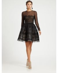 Oscar de la Renta Sheer Lace Cocktail Dress black - Lyst