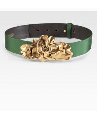 Oscar de la Renta Floral Buckle Belt green - Lyst