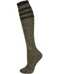 TOPSHOP - Yellow Marl Rib Knee Socks - Lyst