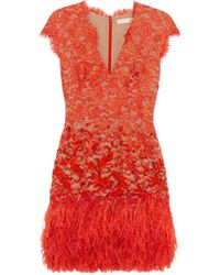 Matthew Williamson Feathertrimmed Embellished Lace Dress red - Lyst