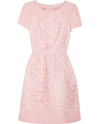 Oscar de la Renta Lace and Silk Faille Dress - Lyst