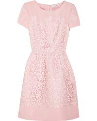 Oscar de la Renta Lace and Silk Faille Dress pink - Lyst