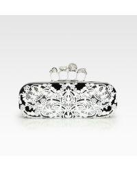 Alexander McQueen Lace Velvet Knuckle Box Clutch - Lyst