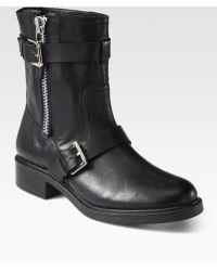 Pour La Victoire Montero Leather Buckle Motorcycle Boots - Lyst