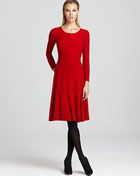Armani Long Sleeve Dress with Pleated Skirt - Lyst