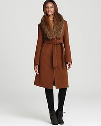 Ellen Tracy Belted Wool Maxi Coat with Fur Trim - Lyst