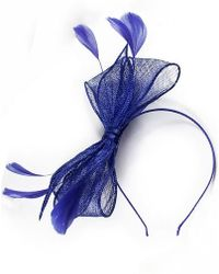 Minuet Petite - Blue Bow Feather Fascinator - Lyst