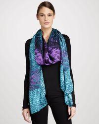 Roberto Cavalli Dragon Silk Chiffon Stole Blue - Lyst