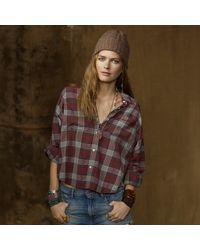 Ralph Lauren Dolmansleeved Plaid Shirt - Lyst