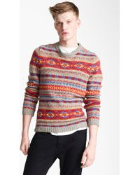 Topman Fair Isle Crewneck Sweater with Elbow Patches red - Lyst