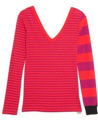 Sonia by Sonia Rykiel - Vneck Stripe Knit Top - Lyst