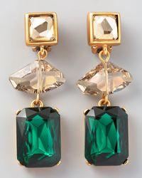 Oscar de la Renta Geometric Crystal Clip Earrings Green green - Lyst