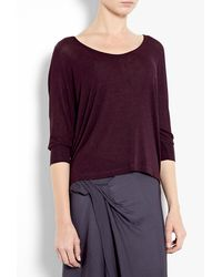 Splendid Red Eggplant Drape Lux Jersey Bat Wing Top - Lyst