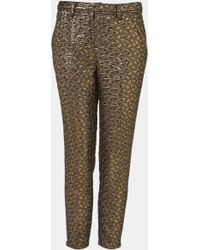 Topshop Metallic Jacquard Crop Cigarette Pants - Lyst