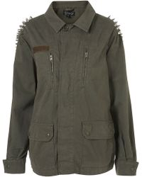 Topshop Studded Spike Army Jacket - Lyst