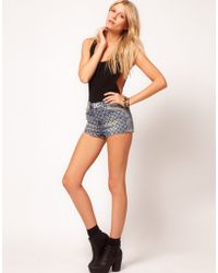 ASOS Collection  Denim Hotpants with Studded Embroidery - Lyst