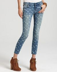 Free People Daisy Print Skinny Fit Cropped Jeans - Lyst