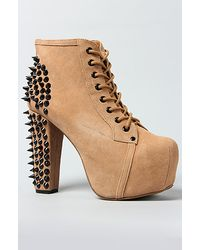 Jeffrey Campbell The Spike Shoe in Nude Suede and Black - Lyst
