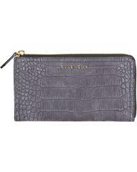 Givenchy Crocstamped Pandora Zip Around Wallet - Lyst