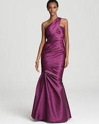 ML Monique Lhuillier One Shoulder Gown Draped Bodice Trumpet Skirt - Lyst