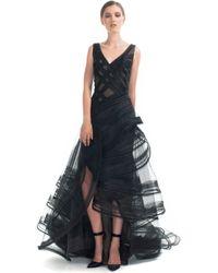 Zac Posen Resort Tiered Ruffle Evening Gown black - Lyst