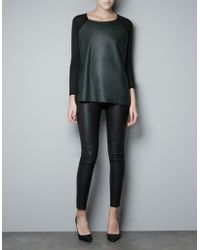 Zara Jumper with Faux Leather Front black - Lyst
