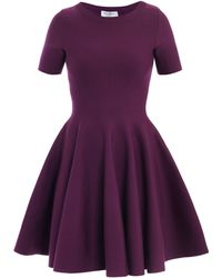 Saint Laurent Skater Skirt Stretch Wool Dress - Lyst