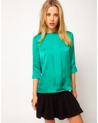 ASOS Collection Asos Top with Pleat Front and 34 Sleeve green - Lyst