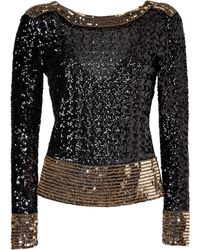 By Malene Birger Blackgold Allover Sequined Vback Top - Lyst