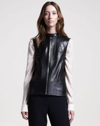 The Row Snapfront Leather Vest black - Lyst