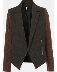 Topshop Inverse Plaid Tweed Jacket - Lyst