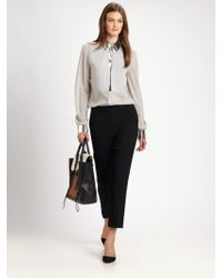 3.1 Phillip Lim Metallictrimmed Stretch Silk Blouse - Lyst