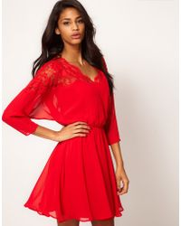 Asos Skater Dress with Lace Top Scallop Neck - Lyst