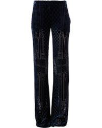Balmain Brocade Wide Leg Trouser blue - Lyst
