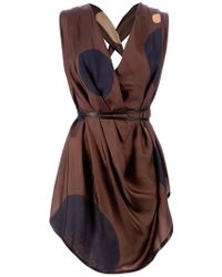 Gustavo Lins - Plunge Neck Draped Blouse - Lyst