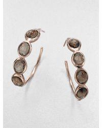 Ippolita Sterling Silver 18k Gold Hoop Earringssmokey Quartz - Lyst