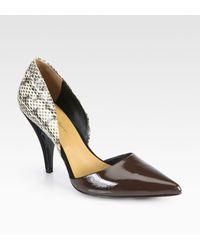 3.1 Phillip Lim Diamond Snakeskin Leather Dorsay Pumps - Lyst