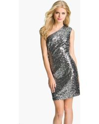 Adrianna Papell One Shoulder Sequin Dress - Lyst