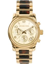 Michael Kors Tortoiseshell Gold Chronograph Watch - Lyst
