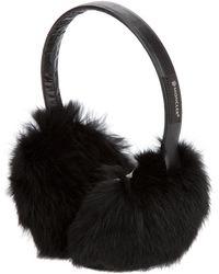 Moncler Rabbit Fur Ear Muffs black - Lyst