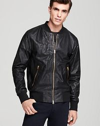 Paul Smith Zip Front Leather Jacket - Lyst