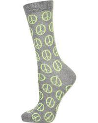 Topshop Grey Peace Ankle Socks - Lyst