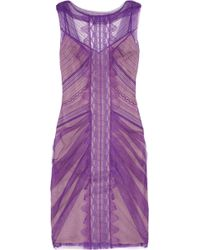 Alberta Ferretti Tulle and Lace Dress - Lyst