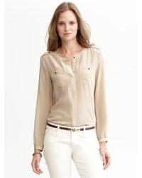 Banana Republic Heritage Silk Military Shirt - Lyst