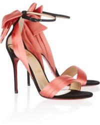 Christian Louboutin Vampanodo 100 Suede and Sateen Sandals - Lyst